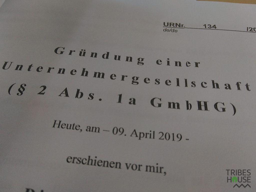 Gründung einer Unernehmenrgesellschaft ( § 2 Abs. 1a GmbHG ))